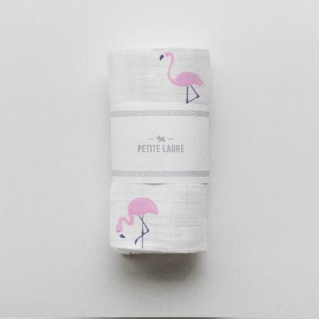 baby swaddle flamingos, otulacz niemowlęcy
