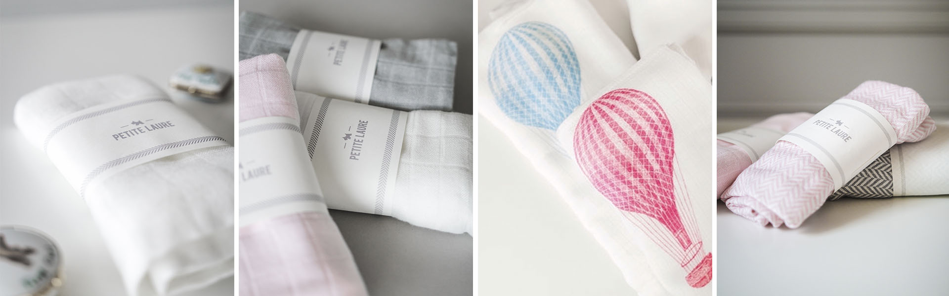 Baby blankets & newborn baby swaddles by PETITE LAURE. Soft Organic Cotton & Bamboo Baby Blankets.