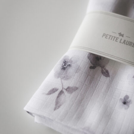 Baby nappy/ Swaddle Grey Flowers