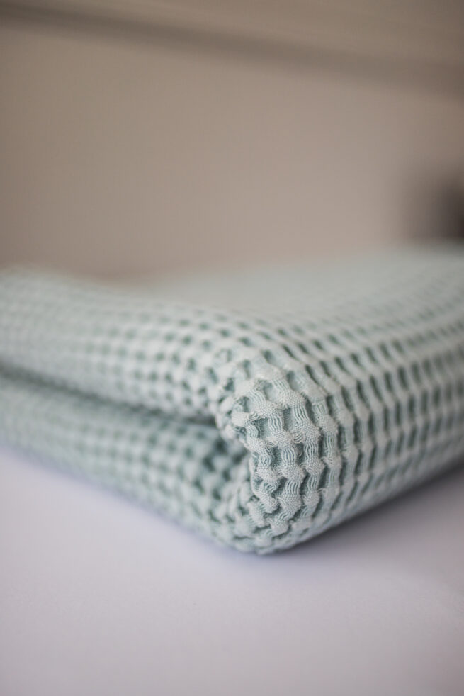 Waffle Linien Baby Blanket - Light Blue