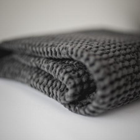 Lniany Kocyk Wafelkowy Niemowlęcy - Czarny