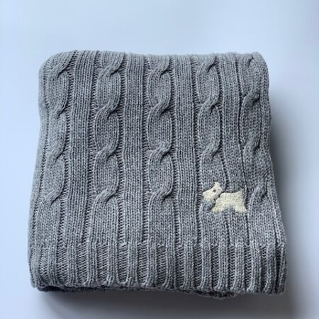 Knitted Scadinavian Baby Blanket Grey